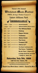 Witchstock music schedule